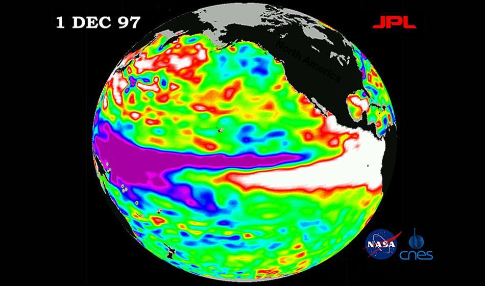 Die weissen Gebiete auf der Höhe der tropischen Westküste des nördlichen Südamerikas und des gesamten zentralen Amerikas, so wie entlang der Zentralöstlichen äquatorialen uns südöstlichen Pazifiks zeigen die Bereiche warmen Wassers. Dieses Bild des Pazifiks wurde mit Hilfe von Meeresoberflächenhöhenmessungen des US-französischen TOPEX/Poseidon-Satelliten erstellt. Bild: NASA