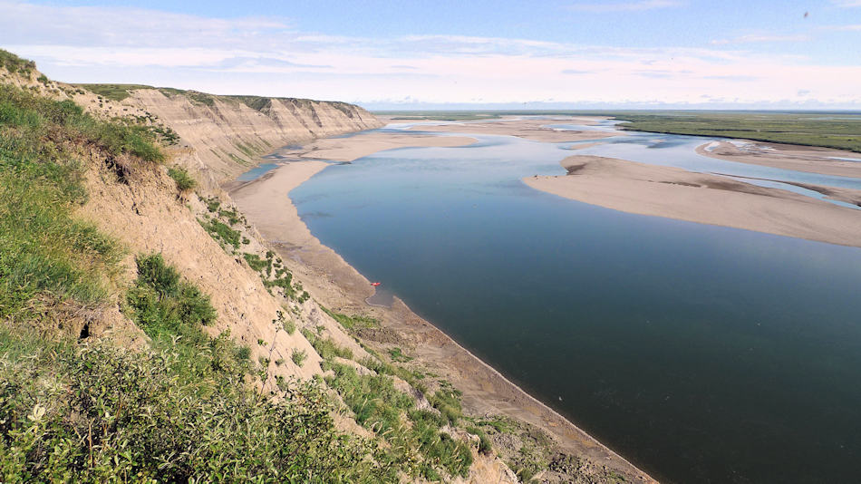 Die Region im Norden von Alaska entlang des Colville Flusses ist heute eine arktische Tundralandschaft. Vor 69 Millionen Jahren lag die Region 10 Grad nördlicher und war eine reichhaltige Landschaft mit einer einzigartigen Tier- und Pflanzenwelt. Bild: Patrick Druckenmiller